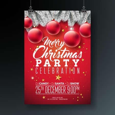 Vector ilustración de Flyer de fiesta de Navidad feliz con tipografía y elementos de vacaciones sobre fondo azul. Plantilla de póster de invitación con rama de pino plateado, bola ornamental y estrella de papel con recorte dorado