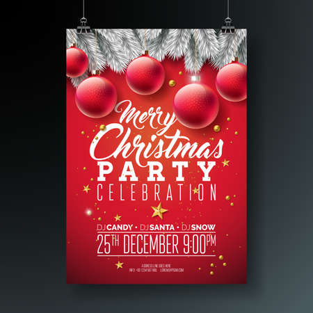 Vector Merry Christmas Party Flyer Illustration with Typography and Holiday Elements on Blue background. Invitation Poster Template with Silver Pine Branch, Ornamental Ball And Gold Cutout Paper Star