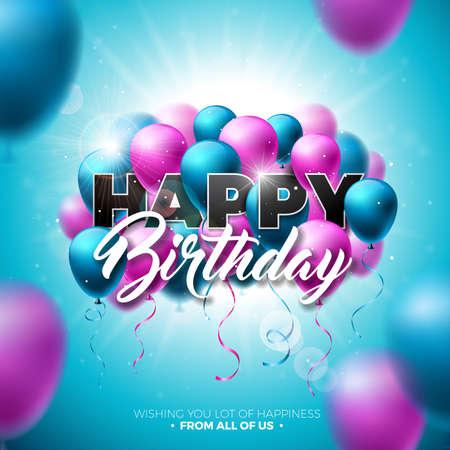 Gelukkige verjaardag Vector ontwerp met ballon, typografie en 3D-Element op glanzende blauwe hemelachtergrond. Illustratie voor wenskaarten of poster voor verjaardagsviering.