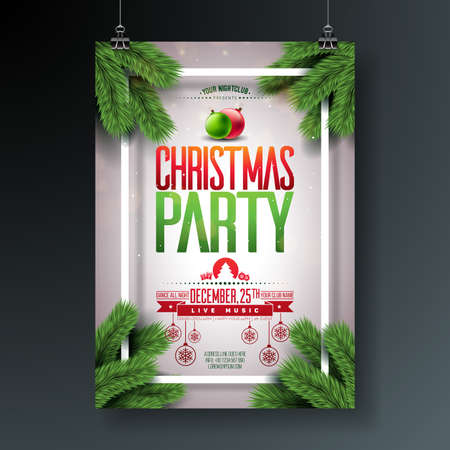 Vector Christmas Party Flyer Design with Holiday Typography Elements and Ornamental Ball, Pine Branch on Shiny Light Background. Premium Celebration Poster Illustration for Your Event Invitation Vettoriali