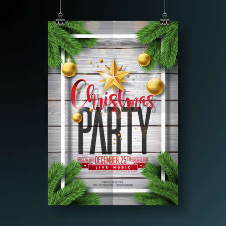 Vector Merry Christmas Party Flyer Design with Holiday Typography Elements and Ornamental Balls on Vintage Wood Background. Premium Celebration Poster Illustration. Vettoriali