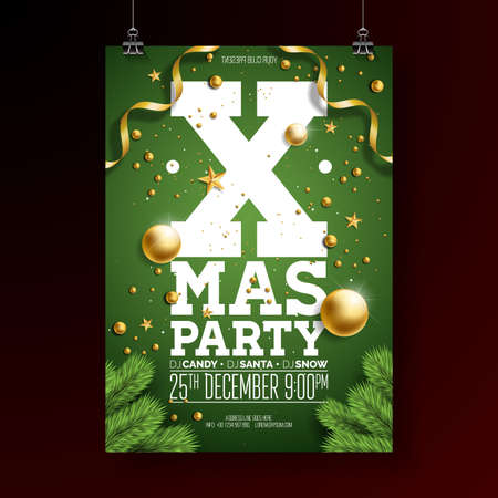 Christmas Party Flyer Design with Holiday Typography Elements and Ornamental Ball, Pine Branch on Green Background. Premium Vector Celebration Poster Illustration.