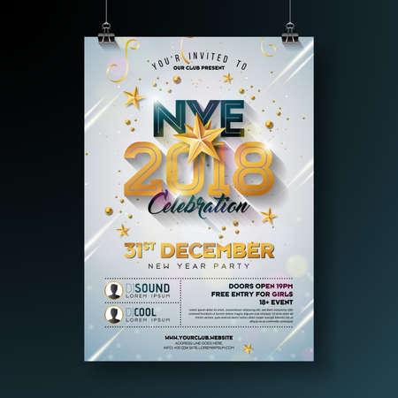 Ilustração 2018 do molde do cartaz da celebração do partido do ano novo com número do ouro brilhante no fundo branco. Vector Flyer de convite Premium de férias ou Banner Promo. Ilustración de vector