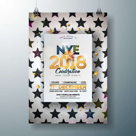2018 New Year party celebration poster template illustration.