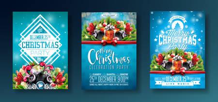 ベクトルメリークリスマスパーティーデザインは、光沢のある青い背景に休日のタイポグラフィ要素とスピーカーを持ちます。●お祝いフリイヤー