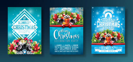 Vector Merry Christmas Party design with holiday typography elements and speakers on shiny blue background. Celebration Fliyer Illustration Set. Vettoriali