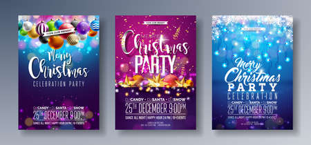 Vector Merry Christmas Party Flyer Illustration with Holiday Typography Elements and Multicolor Ornamental Balls, Cutout Paper Star, Light Garland on Shiny Background. Celebration Poster Design Set.