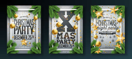 Vector Christmas Party Flyer Illustration with Holiday Typography Elements and Ornamental Ball, Pine Branch on White Background. Premium Celebration Poster Design Set Illustration