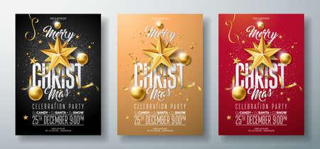 Vector la ilustración del aviador de la fiesta de Navidad feliz con los elementos de la tipografía del día de fiesta y la bola ornamental del oro, estrella del papel del recorte en fondo limpio.