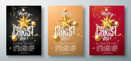 Vector illustration de flyer joyeux noël fête avec éléments de typographie de vacances et ballon ornement or, étoile de papier découpé sur fond propre.