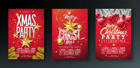 Vector Merry Christmas Party Flyer Illustration with Holiday Typography Elements and Gold Ornamental Ball, Cutout Paper Star on Red Background. Celebration Poster Design Set. Vettoriali