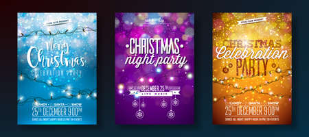 Vector Merry Christmas Party Design with Holiday Typography Elements and Light Garland on Shiny Background. Celebration Fliyer Illustration Set. Archivio Fotografico
