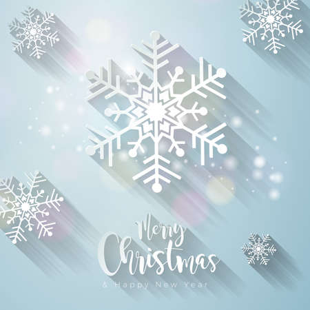 Merry Christmas and Happy New Year Illustration with 3d Snowflake on Light Background. Vector Holiday Design for Premium Greeting Card, Party Invitation or Promo Banner Illustration