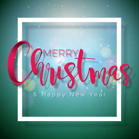 Merry Christmas and Happy New Year Illustration on Shiny Green illustration. Banco de Imagens - 91694483
