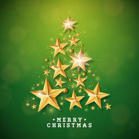 緑の背景に切り抜き紙の星で作られたクリスマスツリーとベクトルクリスマスと新年のイラスト。グリーティングカード、ポスター、バナーのため