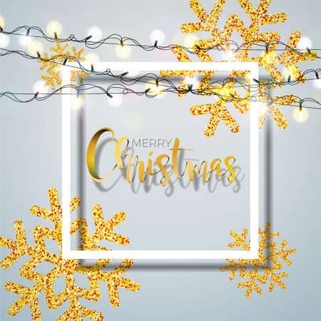 Christmas Background with Typography and Shiny Glittered Snowflake and Holiday Light Garland on White Background. Vector Holiday Illustration for Premium Greeting Card, Party Invitation or Promo Banner.