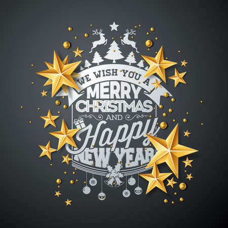 Vector Christmas and New Year illustration with typography and cutout paper stars on black background. Holiday design for greeting card, poster, banner. Illustration