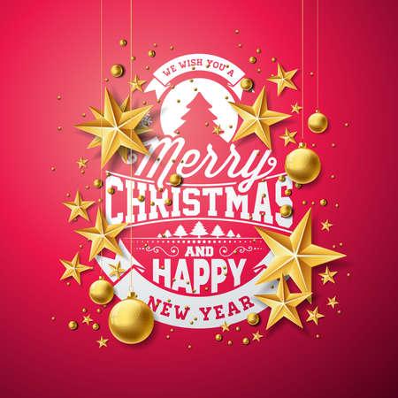赤い背景にタイポグラフィと切り抜き紙の星とベクトルクリスマスと新年のイラスト。グリーティングカード、ポスター、バナーのための休日のデ  イラスト・ベクター素材
