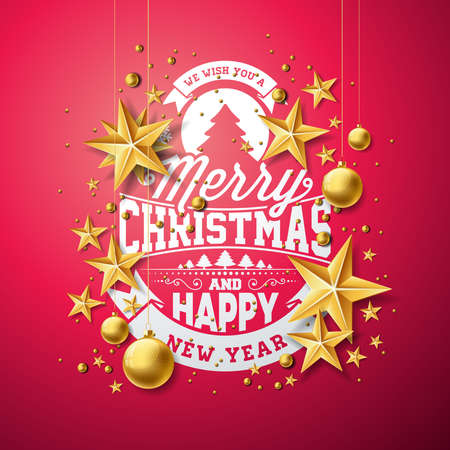 Vector Christmas and New Year illustration with typography and cutout paper stars on red background. Holiday design for greeting card, poster, banner.