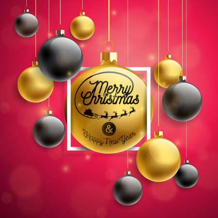 Vector Merry Christmas Illustration with Gold Glass Ball and Typography Elements on Red Background. Holiday Design for Premium Greeting Card, Party Invitation or Promo Banner.