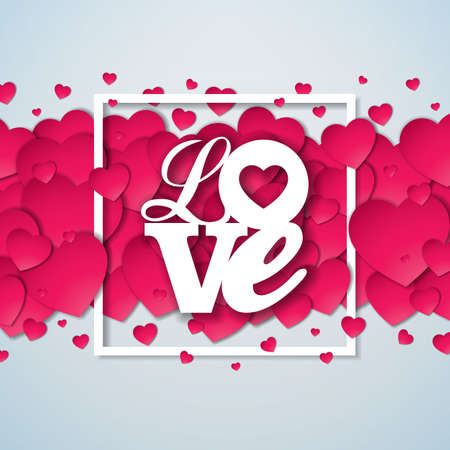Happy Valentines Day Illustration with Red Hearth on Shiny White Background. Vector Wedding and Love Theme Design for Greeting Card, Party Invitation or Promo Banner Archivio Fotografico