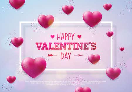 Valentijnsdag ontwerp met rood hart op glanzende achtergrond. Vector bruiloft en romantische liefde thema illustratie voor wenskaart, uitnodiging voor feest of promobanner