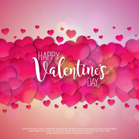 Happy Valentines Day Design with Red Heart on Shiny Pink Background. Vector Wedding and Love Theme Illustration for Greeting Card, Party Invitation or Promo Banner