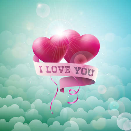 Happy Valentines Day Design with Red Balloon Heart and Typography Letter on Cloud Sky Background. Vector Wedding and Romantic Love Theme Illustration for Greeting Card, Party Invitation or Promo Banner Ilustracja
