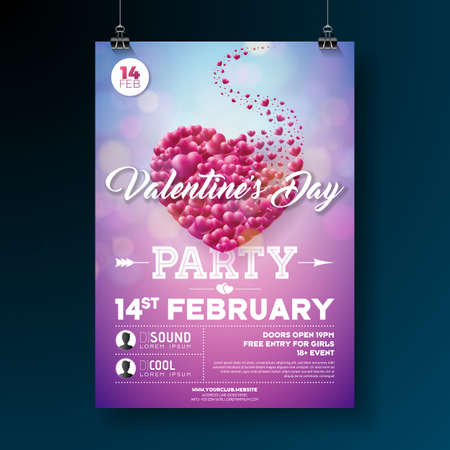 Vector Valentines Day Party Flyer Design with Typography and Heart on Red Background. Celebration Poster Template for Invitation or Greeting Card