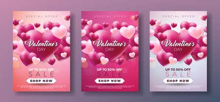 赤い心を持つバレンタインデーの販売の背景。クーポン、バナー、バウチャー、プロモーションポスター用ベクトル特別オファーイラスト