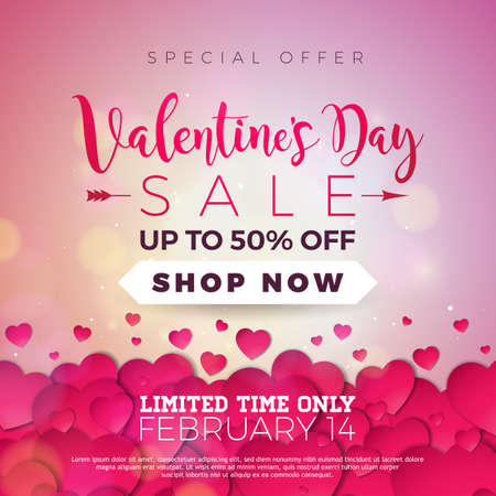 Valentines day sale background with red heart. Vector special offer illustration for coupon, banner, voucher or promotional poster.
