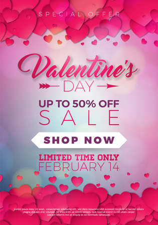 Valentines day sale illustration with heart on red background. Vector special offer illustration for coupon, banner, voucher or promotional poster.