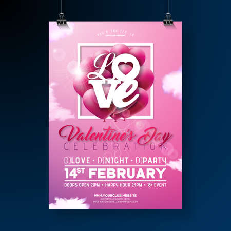 Valentines Day Party Flyer Design with Love Typography Letter and Heart Balloon on Cloud Sky Background. Vector Holiday Celebration Poster Template for Invitation or Greeting Card