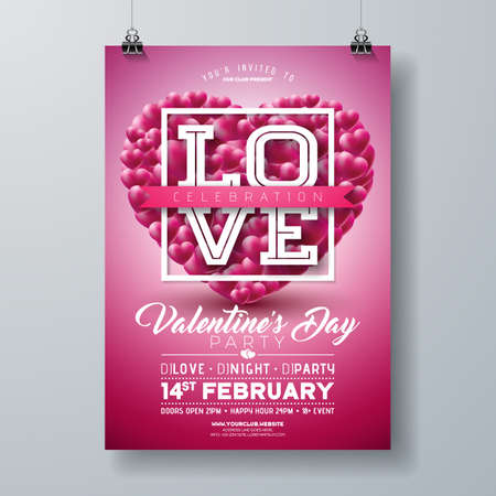 Valentines Day Party Flyer Design with Love Typography Letter and Heart on Red Background. Vector Holiday Celebration Poster Template for Invitation or Greeting Card.