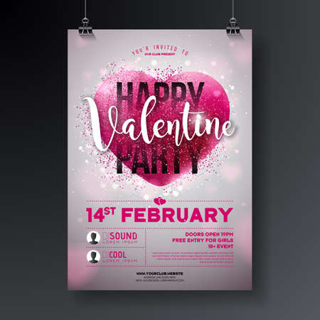 Valentines day party flyer illustration with typography letter and shiny glittered heart on white background. Holiday celebration poster vector template design for invitation or greeting card. Çizim