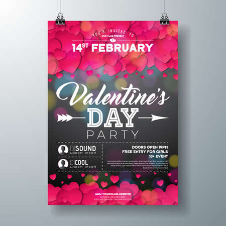 Vector Valentines Day Party Flyer Illustration with Typography and Red Heart on Black Background. Celebration Poster Template Design for Invitation or Greeting Card. Illustration