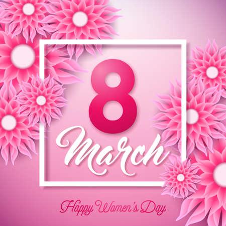 Feliz dia das mulheres ilustração com flor abstrata e 8 de março tipografia letra no fundo rosa. Modelo de Design do vetor Primavera flor para cartão.