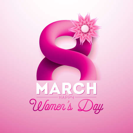 8 March. Happy Womens Day Greeting card. International Holiday Illustration with Shiny 3d Eight on Pink Background. Vector Template.