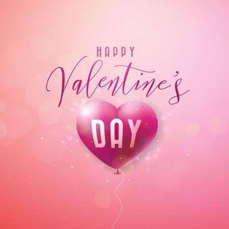 Happy Valentines Day Design avec coeur ballon rouge et lettre de typographie sur fond rose. Illustration de thème de mariage et d'amour de vecteur pour carte de voeux, invitation à une fête ou bannière promotionnelle.