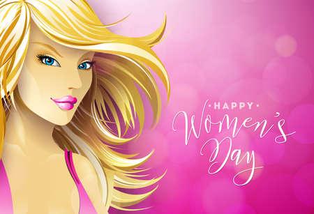 セクシーなブロンディ若い女性とハッピー女性の日グリーティングカードのデザイン。ピンクの背景にタイポグラフィレターデザインと国際女性の