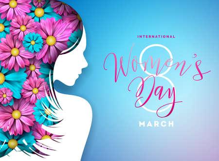 Happy Womens dag Floral wenskaart ontwerp. Internationale vrouwelijke vakantie illustratie met vrouwen silhouet, bloem en typografie brief ontwerp op blauwe achtergrond. Vector internationale 8 maart sjabloon. Vector Illustratie