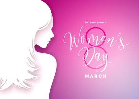 Happy Womens Day Greeting Card Design with Sexy Young Woman Silhouette. International Female Holiday Illustration with Typography Letter Design on Pink Background. Vector International 8 March Template. Illustration