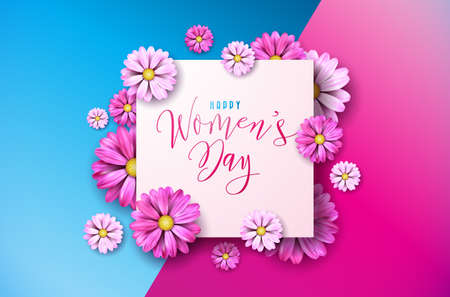 Happy Womens day floral greeting card design. International female holiday illustration with flower and typography letter design on pink and blue background vector international 8th of March template. Illustration