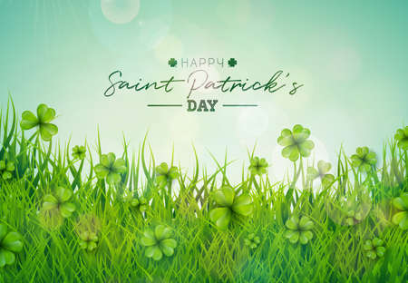 Saint Patricks Day Illustration with Green Clovers Field on Blue Sky Background. Irish Lucky Holiday Vector Design for Greeting Card, Party Invitation or Promo Banner