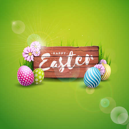 Vector Illustration of Happy Easter Holiday with Painted Egg and Flower on Green Nature Background. International Celebration Design with Typography for Greeting Card, Party Invitation or Promo Banner Vectores