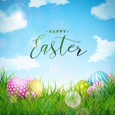 Ilustración de vector de felices vacaciones de Pascua con huevo pintado y flor sobre fondo verde de la naturaleza. Diseño de celebración internacional con tipografía para tarjeta de felicitación, invitación de fiesta o banner promocional.