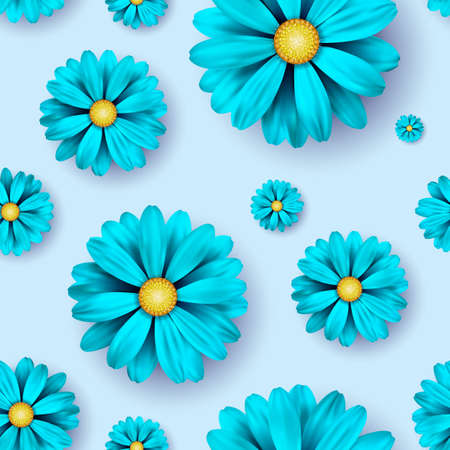 Flower seamless pattern background with realistic blue floral elements. Illustration