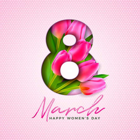 Happy Womens Day Illustration with Tulip Bouquet and 8 March Typography Letter on Pink Background. Vector Spring Flower Design Template for Greeting Card.