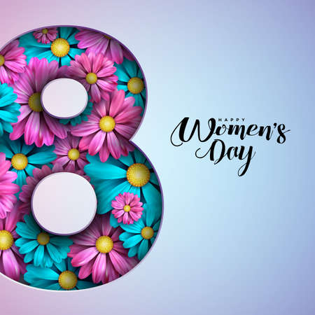 Happy Womens Day Floral Greeting Card Design. International Female Holiday Illustration with Number Silhouette, Flower and Typography Letter Design on Pink Background. Vector International 8 March Template.