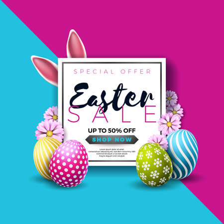 Easter Sale Illustration with Color Painted Egg and Typography Element on Abstract Background. Vector Holiday Design Template for Coupon, Banner, Voucher or Promotional Poster. Иллюстрация